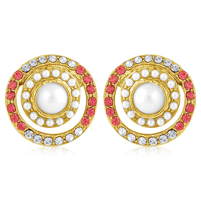 Sukkhi Enchanting Pearl Gold Plated Set of 3 Pair Stud Earring Combo For Women-2