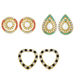 Sukkhi Enchanting Pearl Gold Plated Set of 3 Pair Stud Earring Combo For Women