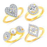 Sukkhi Alluring Gold Plated CZ Set Of 4 Ring Combo For Women