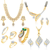 Pissara Incredible Gold Plated CZ Combo Pack Of 8 For Women