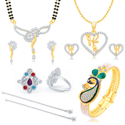 Sukkhi Valentine Collection Glimmery Peacock Gold Plated CZ Combo For Women Pack Of 5
