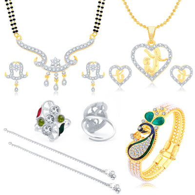 Sukkhi Valentine Collection Sublime Peacock Gold Plated CZ Combo For Women Pack Of 5