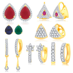 Sukkhi Glamorous Gold Plated CZ Set Of 6 Pair Stud Earring With Set Of 2 Changeable Stone Combo For Women