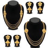Sukkhi Dazzling Jalebi 4 String Gold Plated Set of 2 Necklace Set Combo For Women