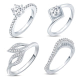 Pissara Incredible Rhodium Plated CZ Combo With Rose Box For Women Pack Of 4
