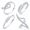 Pissara Modish Rhodium Plated CZ Combo With Rose Box For Women Pack Of 4