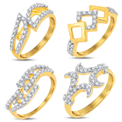 Pissara Stylish Gold & Rhodium Plated CZ Combo With Rose Box For Women Pack Of 4