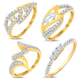 Pissara Astonish Gold & Rhodium Plated CZ Combo With Rose Box For Women Pack Of 4
