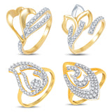 Pissara Graceful Gold & Rhodium Plated CZ Combo With Rose Box For Women Pack Of 4