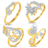 Pissara Glimmery Gold & Rhodium Plated CZ Combo With Rose Box For Women Pack Of 4