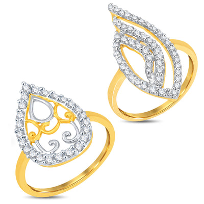 Pissara Delightful Gold & Rhodium Plated CZ Combo With Rose Box For Women Pack Of 2