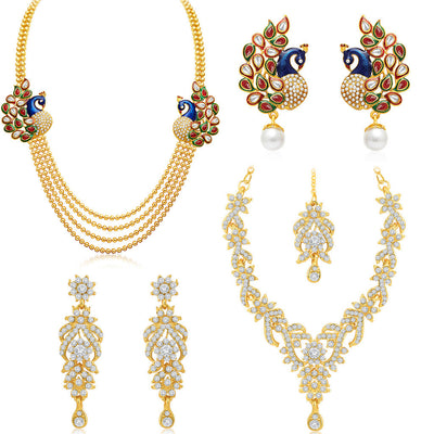 Sukkhi Ritzy 4 String Peacock Gold Plated AD Combo For Women Pack Of 2