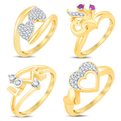 Sukkhi Valentine Collection Incredible Gold Plated CZ Combo Ring For Women Pack Of 4