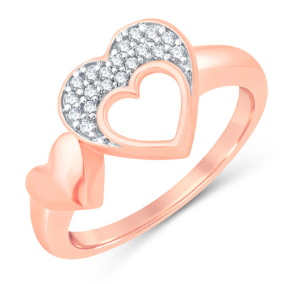 Sukkhi Valentine Collection Modish Rose Gold Plated CZ Combo Ring For Women Pack Of 4-2