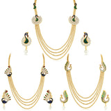 Sukkhi Creative Peacock 4 String Gold Plated Set Of 3 Necklace Set Combo For Women