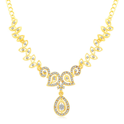 Sukkhi Incredible Gold Plated AD Set Of 3 Necklace Set Combo For Women