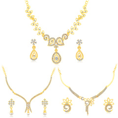 0037 Sukkhi Incredible Gold Plated AD Set Of 3 Necklace Set Combo For Women