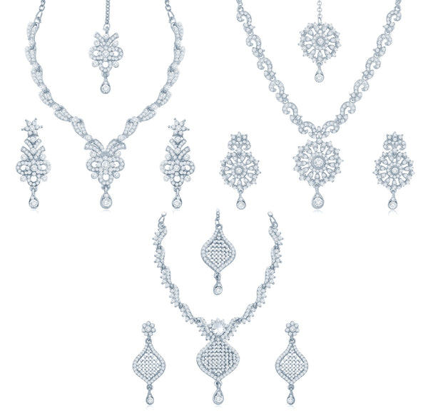 10999Sukkhi Incredible Rhodium Plated AD Set Of 3 Collar Necklace Set Combo For Women