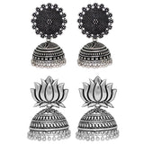 0203 Sukkhi Incredible Oxidised Filigree Jhumkis Earring combo set (Set of 2)