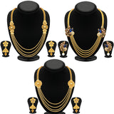0203 Sukkhi Trendy 4 String Gold Plated Necklace Set Combo For Women (Set of 3)