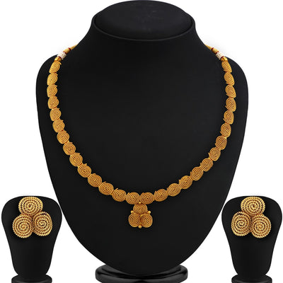 Sukkhi Fancy CZ Jalebi Gold Plated Set of 3 Necklace Set Combo For Women