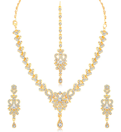 Sukkhi Stylish Gold Plated Austrian Diamond Choker Necklace Set Combo For Women