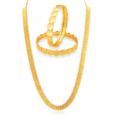 Sukkhi Temple Coin Gold Plated Necklace Set & Bangle Combo For Women