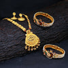 Sukkhi Peacock Gold Plated Necklace Set & Kada Combo For Women