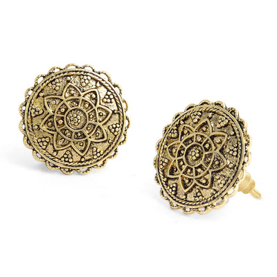 Sukkhi Exclusive Oxidised Gold Plated Floral Stud Earring Combo For Women