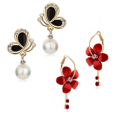 Sukkhi Delicate Crystal Gold Plated Floral Earring Combo For Women