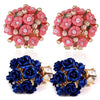 Sukkhi Lavish Crystal Rose Gold Plated Floral Earring Combo For Women