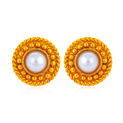 Sukkhi Excellent Pearl Gold Plated Floral Earring Combo For Women