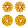 Sukkhi Ethnic Pearl Gold Plated Floral Earring Combo For Women