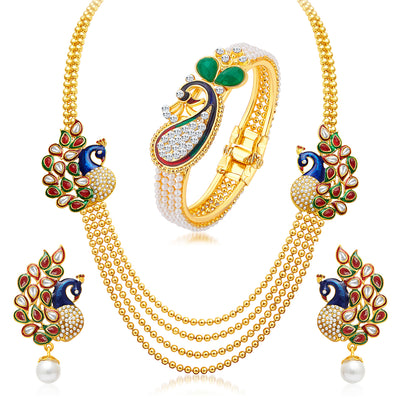 Sukkhi Incredible Pearl Gold Plated Peacock Kundan Necklace+Kada Combo For Women
