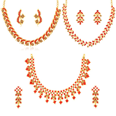Sukkhi Charming LCT and Red Stone Gold Plated Necklace Set Combo for Women