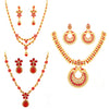 Sukkhi Stunning LCT and Red Stone Gold Plated Peacock Necklace Set Combo for Women