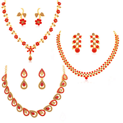Sukkhi Classy LCT and Red Stone Gold Plated Floral Necklace Set Combo for Women