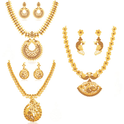Sukkhi Marvellous LCT Gold Plated Peacock Necklace Set Combo for Women