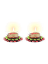 Sukkhi Dual Coloured, Red and Green Floral Diya Candle-1