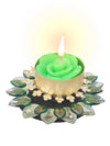 Sukkhi Must-Have Floral Diya Candle in Green