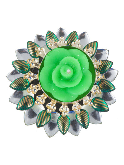 Sukkhi Must-Have Floral Diya Candle in Green-2