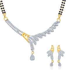 Pissara Graceful Gold and Rhodium plated CZ Mangal Sutra Set