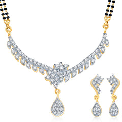 Pissara Fascinating Gold and Rhodium plated CZ Mangal Sutra Set