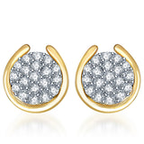 Pissara Attractive Gold and Rhodium plated CZ Studded Earrings