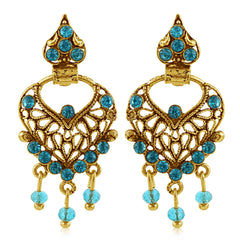 Sukkhi Charming Gold Plated Aqua Studded Chandbali Stone Earring For Women