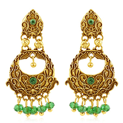 Sukkhi Marquise Gold Plated Green Studded Chandbali Stone Earring For Women