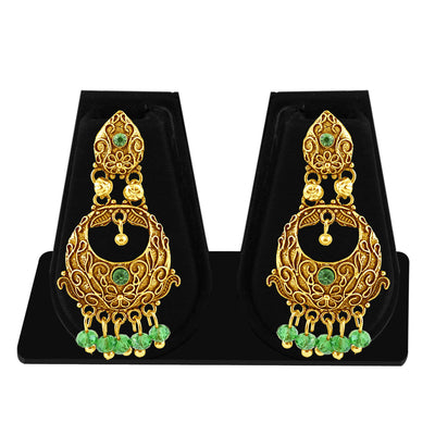 Sukkhi Marquise Gold Plated Green Studded Chandbali Stone Earring For Women-1