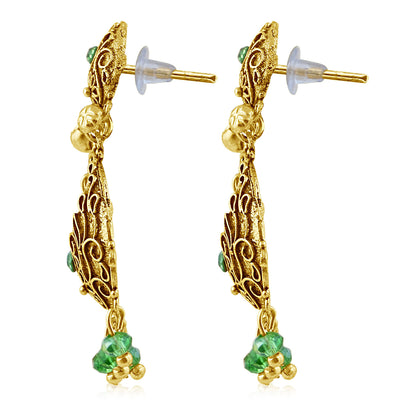 Sukkhi Marquise Gold Plated Green Studded Chandbali Stone Earring For Women-2