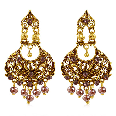 Sukkhi Finely Gold Plated Purple Studded Chandelier Stone Earring For Women