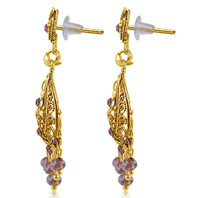 Sukkhi Finely Gold Plated Purple Studded Chandelier Stone Earring For Women-2